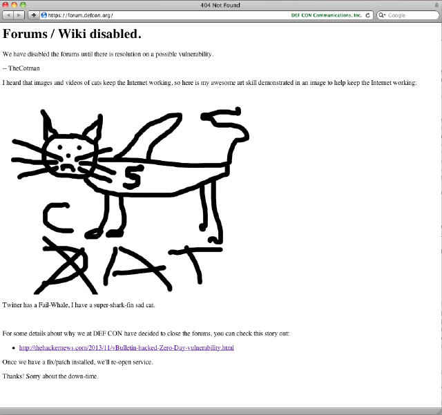 DefCon-Forum außer Betrieb