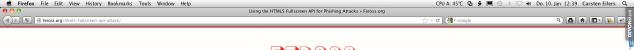 Ein echtes Browserfenster mit Feross Aboukhadijehs Seite