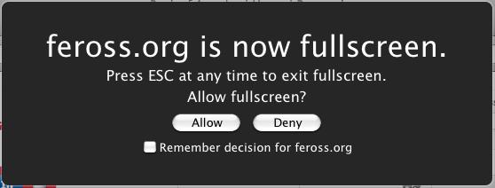 Von Firefox eingeblendete Warnung beim Aufruf des Vollbild-Modus