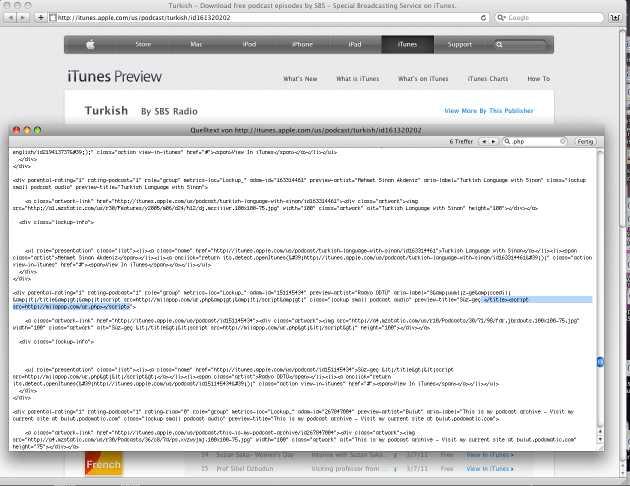 iTunes-Seite mit 'scharfen' Schadcode