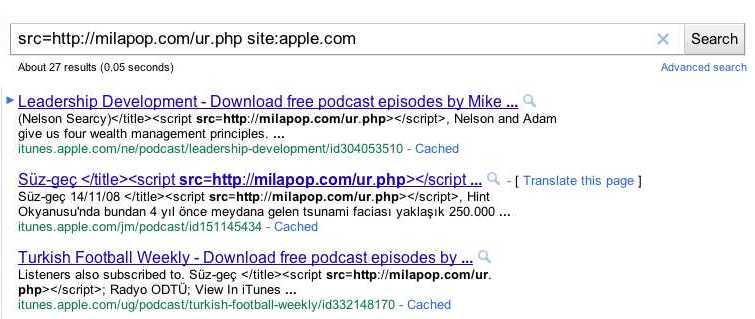 Googel-Suche nach milapop.com auf apple.com