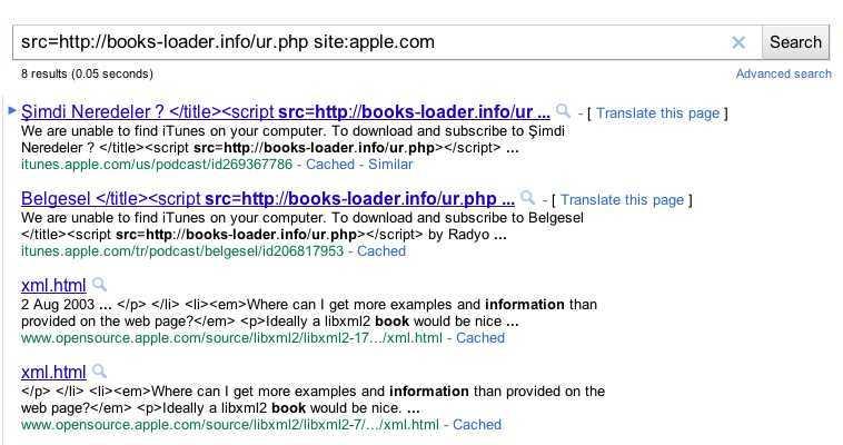 Googel-Suche nach books-loader.info auf apple.com