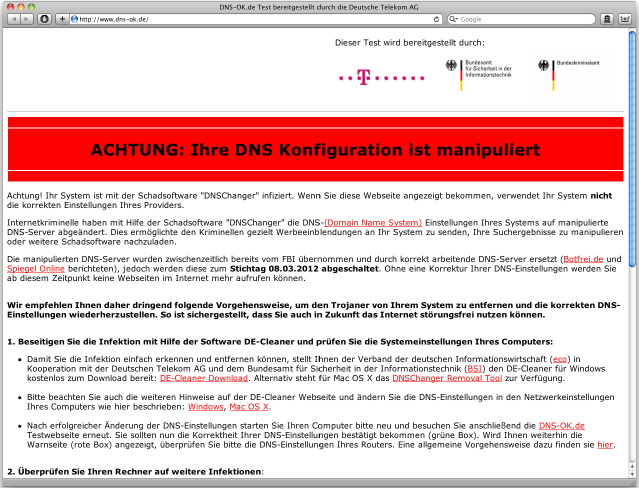 Abb. 2: www.dns-ok.de bei Infektion mit DNS-Changer