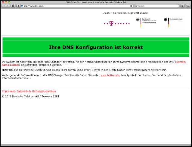 Abb. 3: www.dns-ok.de ohne Infektion mit DNS-Changer