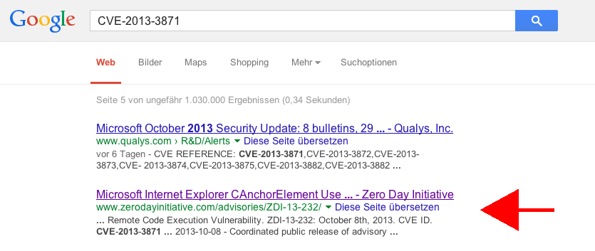 Screenshot: Advisory ZDI-13-232 bei Google